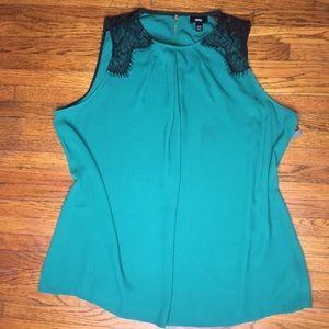 Plus Size XXL Deep Green Sleeveless Work Top